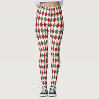 Red Green Argyle Plaid Christmas Leggings