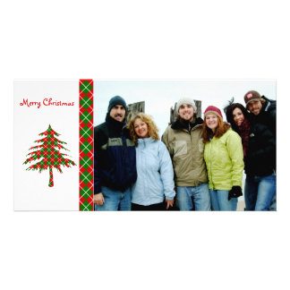 Red & Green Argyle Tree  Merry Christmas Picture Card