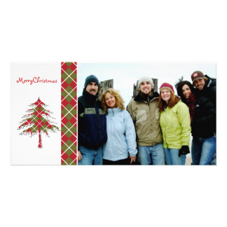 Red & Green Argyle Tree  Merry Christmas Photo Card Template