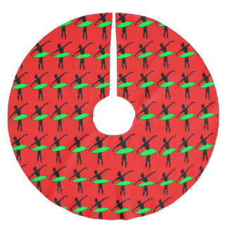 Red Green Ballet Ballerina Christmas Tree Skirt