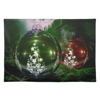 Red green balls christmas placemat