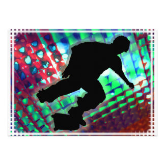 Red Green Blue Abstract Boxes Skateboard Invites