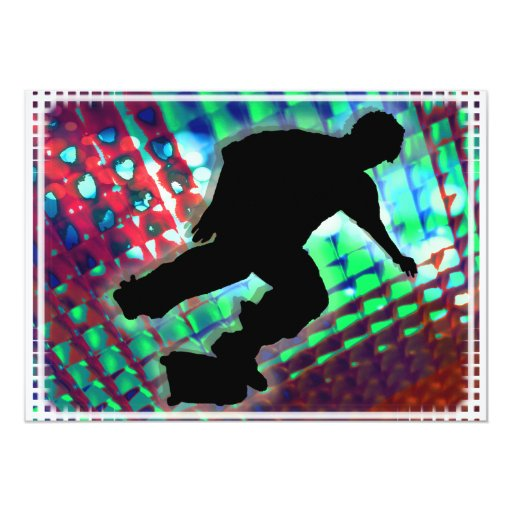 Red Green & Blue Abstract Boxes  Skateboard 13 Cm X 18 Cm Invitation Card