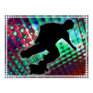 Red Green Blue Abstract Boxes Skateboard Print