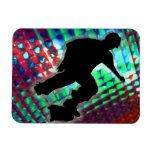Red Green & Blue Abstract Boxes Skateboarder Magnet