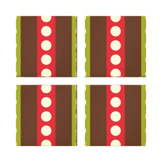 Red Green Brown Polka Dots in Stripes Gallery Wrap Canvas