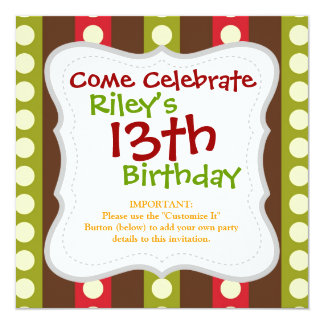 Red Green Brown Polka Dots in Stripes 5.25x5.25 Square Paper Invitation Card
