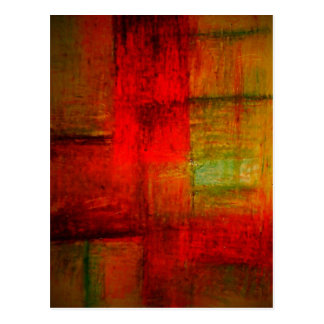 Red Green Browny Yellow Abstract Art Postcard