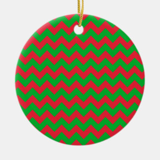 Red Green Chevron Christmas Ornament