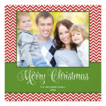 Red Green Chevron Christmas Square Photo Card