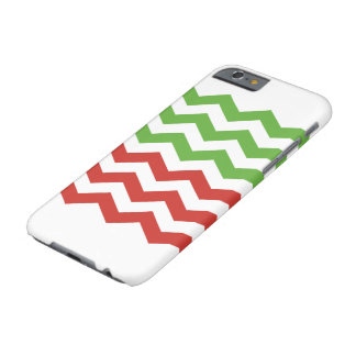 Red & Green Chevron Stripe Christmas Pattern Barely There iPhone 6 Case