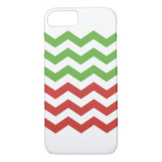 Red & Green Chevron Stripe Christmas Pattern iPhone 8/7 Case