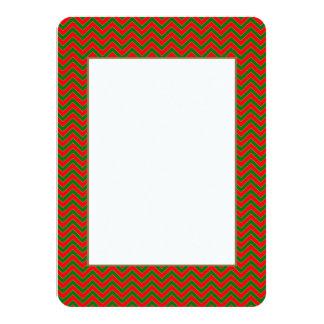 Red & Green Christmas Chevron Zig Zag Stripe 11 Cm X 16 Cm Invitation Card
