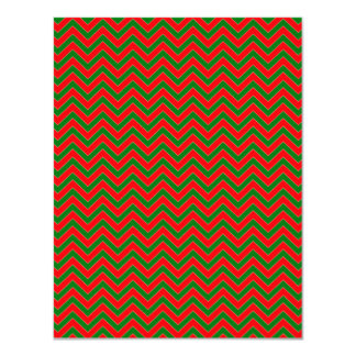 Red & Green Christmas Chevron Zig Zag Stripe Custom Announcement