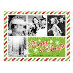 Red Green Christmas Custom Photo Postcard