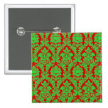 Red & Green Christmas Damask Pinback Buttons
