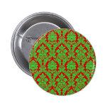 Red & Green Christmas Damask Pins