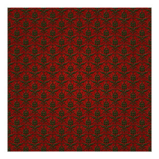 Red Green Christmas Damask Poster