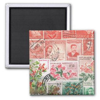 Red Green Christmas Fridge Magnet, Winter Sunset Square Magnet