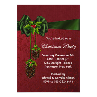 Red Green Christmas Holiday Party 13 Cm X 18 Cm Invitation Card