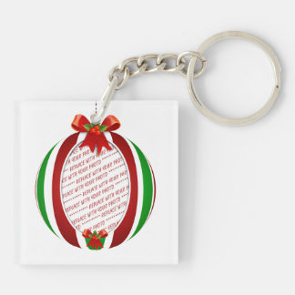 Red & Green Christmas Ornament Photo Frame Double-Sided Square Acrylic Key Ring