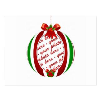 Red & Green Christmas Ornament Photo Frame Postcard