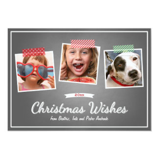 Red Green Christmas Photo Washi Tape Chalk Holiday 13 Cm X 18 Cm Invitation Card
