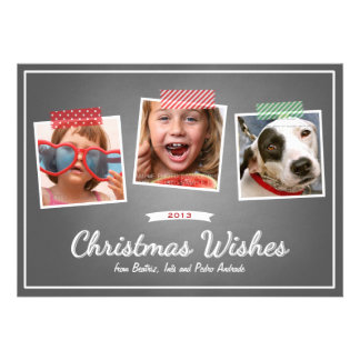 Red Green Christmas Photo Washi Tape Chalk Holiday Announcement