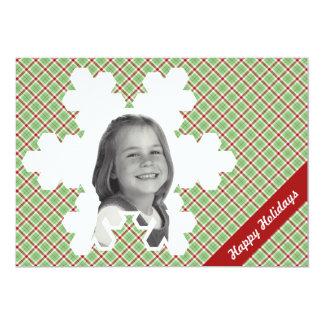 Red & Green Christmas Plaid Cutout Snowflake Photo Card