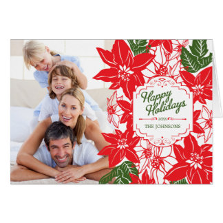 Red & Green Christmas Poinsettias Holiday Photo Card