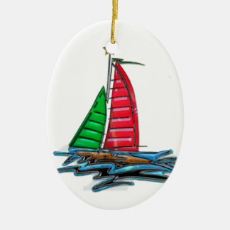Red & Green Christmas Sailboat Christmas Ornament