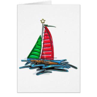 Red & Green Christmas Sailboat Greeting Card