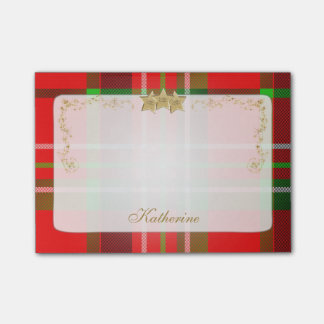 Red, Green Christmas Tartan & Stars Personalized Post-it Notes