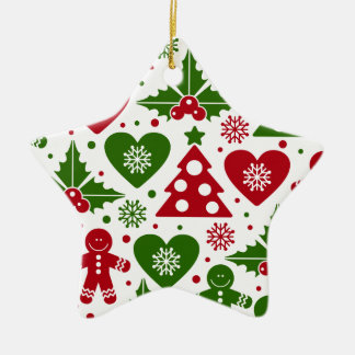 Red & Green Christmas Tree Gingerbread Man Pattern Ceramic Star Decoration
