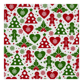 Red & Green Christmas Tree Gingerbread Man Pattern Poster
