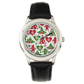 Red & Green Christmas Tree Gingerbread Man Pattern Wristwatches