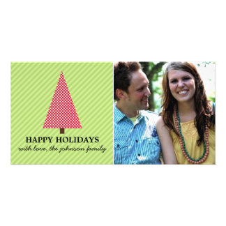 Red & Green Christmas Tree Holiday Photo Cards