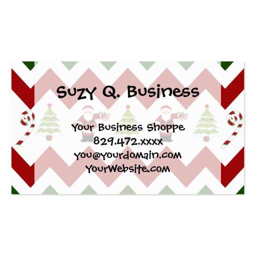 Red Green Christmas Tree Santa Chevron Pattern Business Card Template