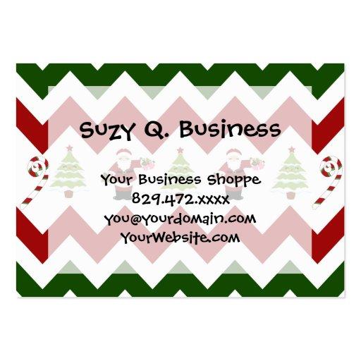 Red Green Christmas Tree Santa Chevron Pattern Business Card Templates