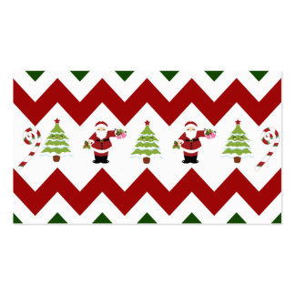 Red Green Christmas Tree Santa Chevron Pattern Business Card Templates