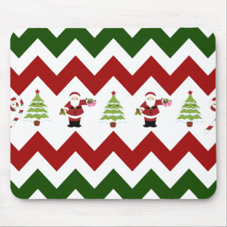 Red Green Christmas Tree Santa Chevron Pattern Mouse Pad