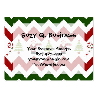 Red Green Christmas Tree Santa Chevron Pattern Pack Of Chubby Business Cards