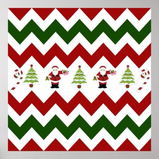 Red Green Christmas Tree Santa Chevron Pattern Poster