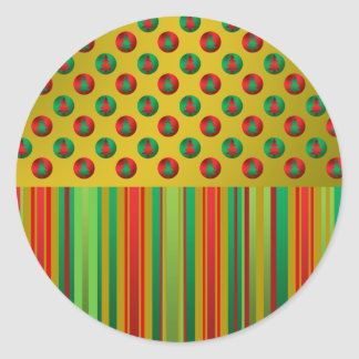 Red green Christmas trees on gold stripes Stickers