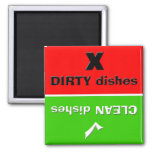 Red/Green - Clean/Dirty Dishes Square Magnet