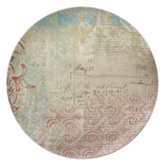 Red Green Collage Vintage Paper Plates