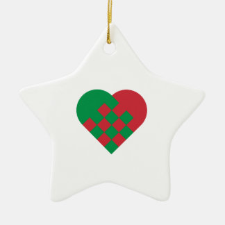 Red Green Danish Heart Christmas Ornament