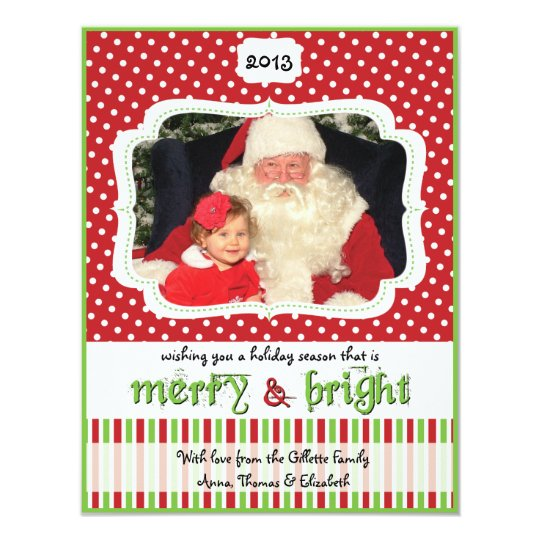 Red & Green Dots & Stripes Holiday Photo Card