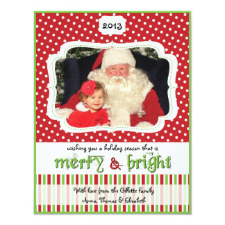 Red & Green Dots & Stripes Holiday Photo Card 11 Cm X 14 Cm Invitation Card