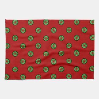 Red Green Dots Tea Towel